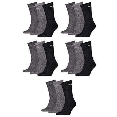 PUMA Unisex Socken, Sportsocken 15 PAAR, Frotteesohle, Regular Crew (Grau Mix (207), 39-42 (6-8 UK))