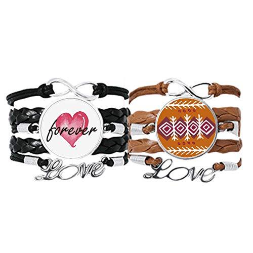 Bestchong Brown Dart Mexico Totems Antike Zivilisation Armband Handschlaufe Leder Seil Forever Love Armband Doppelset