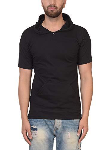 PAUSE Men's Solid Cotton Short Sleeve Round Neck Slim-Fit T-Shirt (Large,Black,PACT03181242-BLK-L)