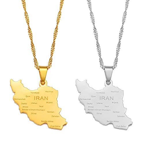 usstore friend necklaces women Iran Map With Cities Pendant Necklace Women Girls Jewelry,Silver Color/Gold Color Iranian Necklaces