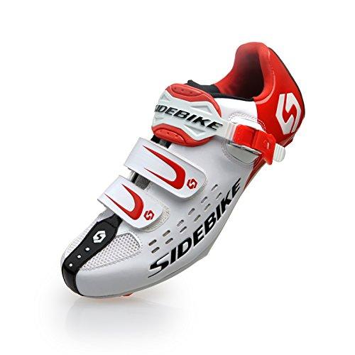 TXJ® Unisexo Zapatos de Bicicleta de Carretera (Elija un Tamaño Más Grande de lo Habitual)(SD-001 Blanco-Rojo,42)