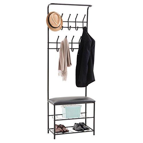 CARO-Möbel Garderobenständer WARDIE mit Schuhbank Kleiderständer in schwarz lackiert, mit 2 Schuhablagen und Sitzkissen