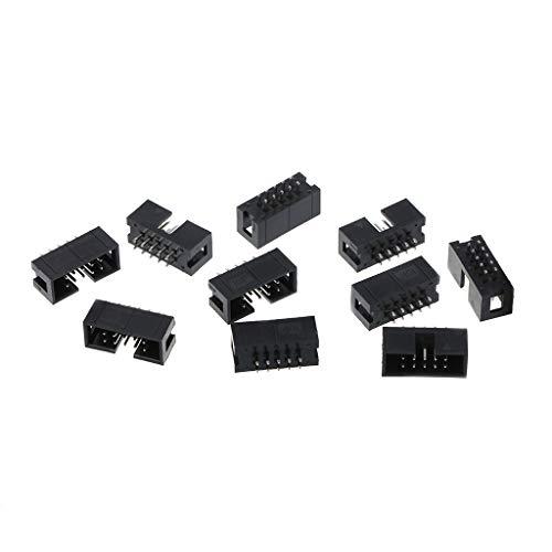 Dabixx 10 stuks DC3 10 Pin 2x5 Pin Dubbele Rij 2.54mm Pitch Rechte Pin Mannelijke IDC Box Header Connector