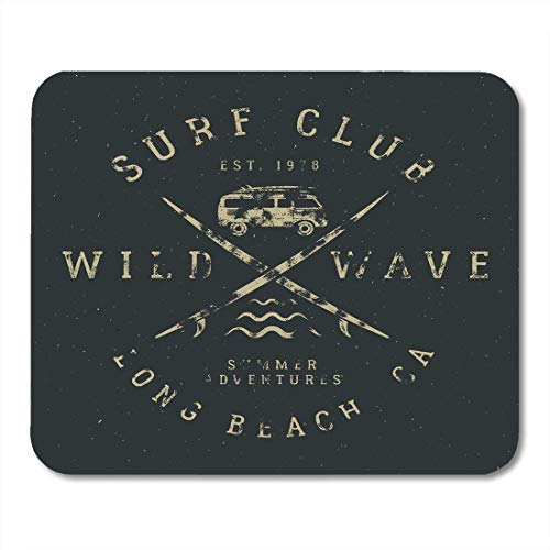 AOHOT Mauspads Surfing Tee in Vintage Rubber Surf Symbols Old Rv Car Surfboards and Summer Wild Wave Club Hipster Patch Mouse Pad Mats 9.5