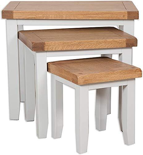 Madera maciza de roble de madera y muebles de pino, muebles de sala, mesas nido 3 65 * 42 * 55,Brown