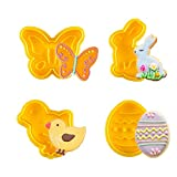 Olywee - Set di 4 formine per biscotti pasquali, per uova, coniglio, farfalla, pulcino