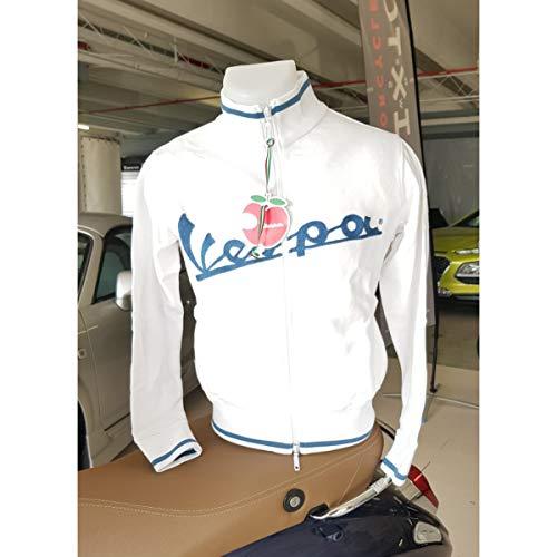 Zanuso Sudadera de mujer original Piaggio Vespa con cremallera bolsillos scooter moto viaje tiempo libre idea regalo clásico con logo oficial (blanco, XS)