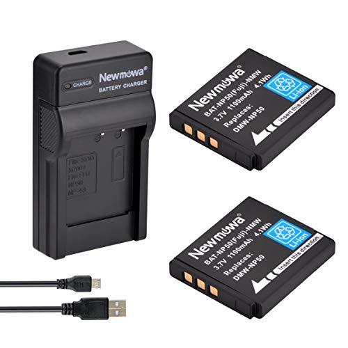 Newmowa NP-50 Batería (2-Pack) y Kit Cargador Micro USB portátil para Fujifilm NP-50 FinePix F100fd F200EXR F300EXR F50fd F550EXR F600EXR F60fd F70EXR F770EXR F800EXR F80EXR