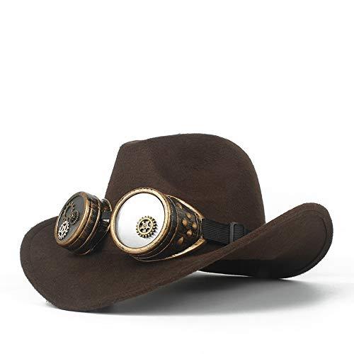Xuguiping Mannen Vrouwen Wol Western Cowboy Hoed Met Gear Bril Roll Up Hoed Brede Brim Sombrero Cap Fascinator Hoed Maat 56-58CM 56-58 Donkere koffie
