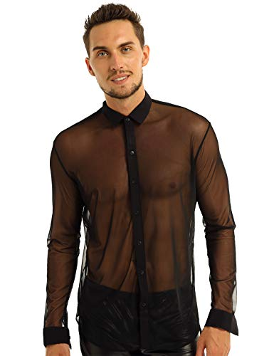 YiZYiF Men's See Through Mesh Clubwear Perspective Muscle Top Button-Down Shirt Black Medium