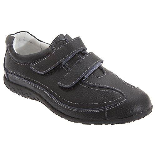 Boulevard Damen Schuhe/Sneakers/Turnschuhe mit Klettverschluss, Passform extra weit (39,5 EU) (Schwarz)