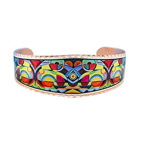 Pulseras artesanales de cobre con diseño abstracto colorido y audaz, pulseras abiertas, joyería...