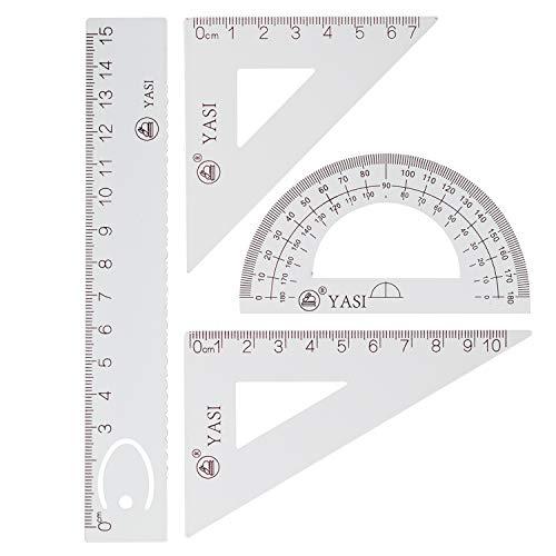 4 Stück Dreieckig Architekten Maßstab Lineal Set, 2 Stück Dreieckiges Lineal+Winkelmesser+Linear Ruler, Geeignet für Architekten, Ingenieure, Studenten, Zeichner, Design, Grafik, Prüfung (Weiß)