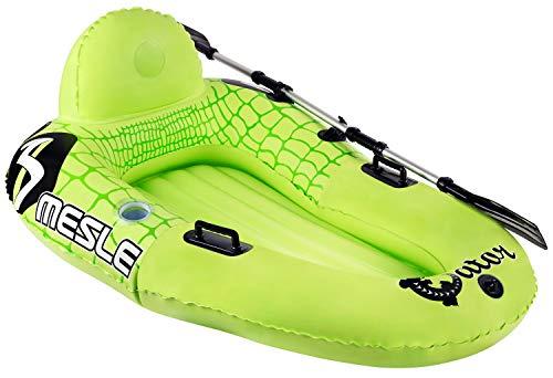 MESLE River Tube Gator mit Paddel, Schlauchboot, Bade-Boot, steuerbarer Wassersitz/Kajak, grün, mit Finnen und Paddel-Halterung