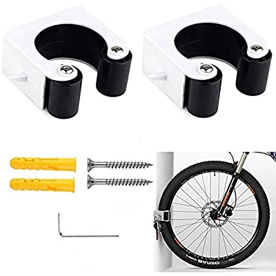 2Pcs Bicycle Clip Wall-Mounted Bicycle Parking Buckle, Mountain Bike Rack Storage System, Durable and Strong Bicycle Clip for Indoor and Outdoor Storage with Hooks