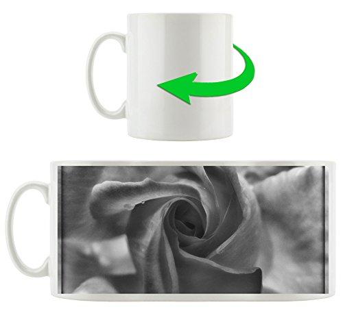 Monocrome, fleur rose délicate, Motif tasse en blanc 300ml céramique, Grande idée de cadeau pour toute occasion. Votre nouvelle tasse préférée pour le café, le thé et des boissons chaudes