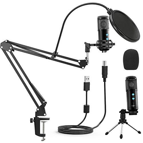 2020 New USB Mikrofon für Computer, Spielemikrofon, für Podcast, Live-Streaming, YouTube am PC, Studio-Mikrofon-Bundle mit einstellbarem Armständer, passt für Windows & Mac PC, mit Plug & Play