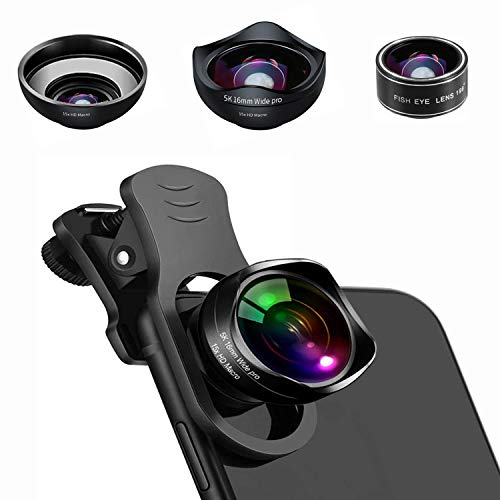 Universal Phone Camera Lens, 5K HD 3 in 1 Clip On Phone Lens Kit with 198° Fisheye Lens + 15x Macro Lens + 0.45X Wide Angle Lens for iPhone XR XS X/11/8/7Plus,Samsung,BlackBerry,Android Smartphone