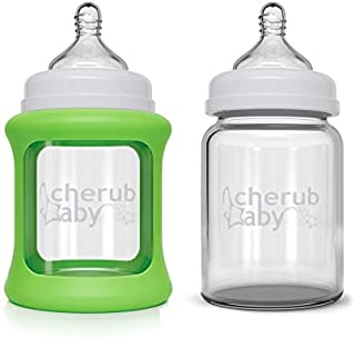 Cherub Baby Wide Neck Glass Bottles Twin Pack (150ml), Green