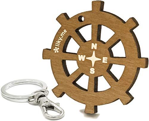LIKY® Boot Steuerrad - Original Schlüsselanhänger aus Holz Gravur Geschenk Damen Herren Geburtstag Hobby Schmuck Anhänger Tasche Rucksack
