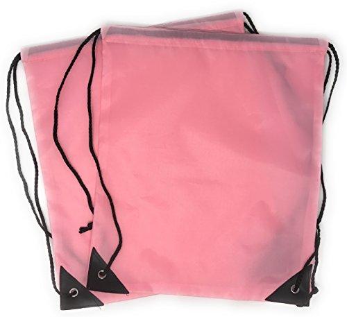 Bulk Pack 20 Large Drawstring Backpack - Sports Bag Cinch Sack (Pink)