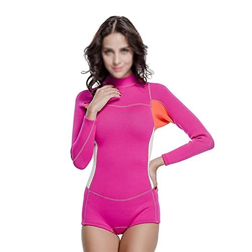 Traje De Baño Traje De Baño De Neopreno De 2 Mm para Mujer, Traje De Neopreno para Surf, Snorkel, Traje De Baño para Hacer Surf, Nadar, Deportes Acuáticos (Color : Rose Red, Size : M)