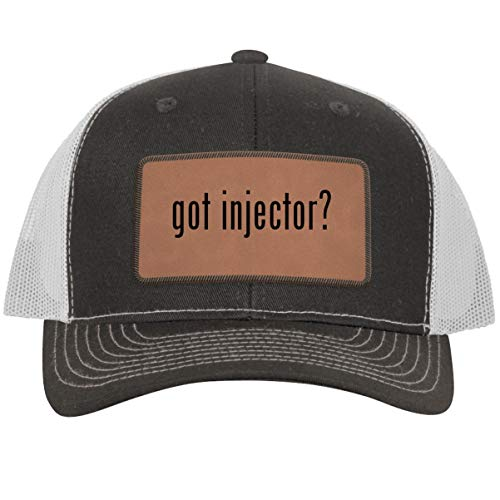 got Injector? - Leather Dark Brown Patch Engraved Trucker Hat, Grey-White, One Size