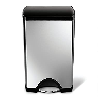 simplehuman 38 Liter / 10 Gallon Stainless Steel Rectangular Kitchen Step Trash Can, Brushed Stainless Steel With Plastic Lid
