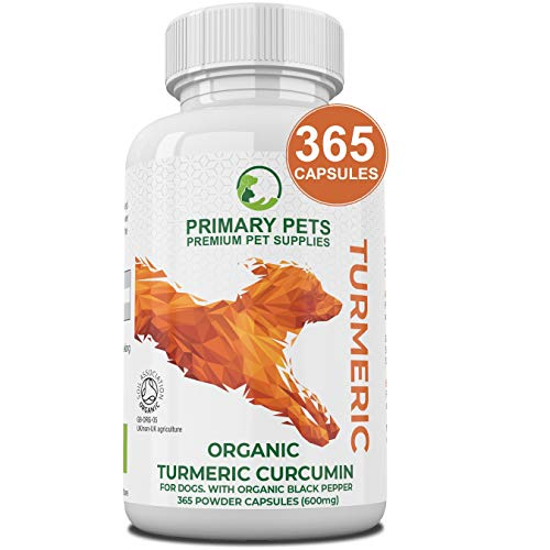 Organic Turmeric for Dogs with Curcumin. Pack of 365 600mg Powder Capsules. Hip and Joint Supplement for Dogs. With Organic Black Pepper Extract. 12000mg Equivalent