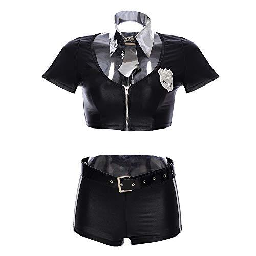 Xnhui Schwarz Polizistin Rollenspiel Sexy Frauenkleider Krawatte, Schwarze Gürtel Sexy Polizistin Kostüm-Rollenspiel Erwachsene Frau Tx (Color : Black, Size : S M)