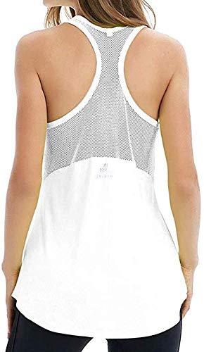YINI - Camiseta de Tirantes de Malla con Espalda Cruzada para Yoga, para Mujer Blanco...