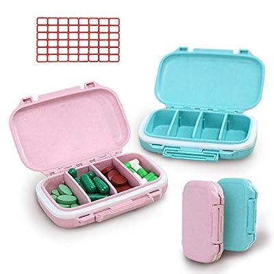 YNester 2er Tablettenbox 7 Tage, Mode Reisen Pillendose für 4 Herausnehmbare Fächer Medikamentenbox, Pillenetui Leicht Zu Öffnen, Vitamins Medikamentendosierer (Rosa + Blau)