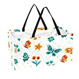 Bolsa de comestibles reutilizable grande, resistente bolsa de compras con parte inferior reforzada y asa (impresión de mariposas pequeñas)