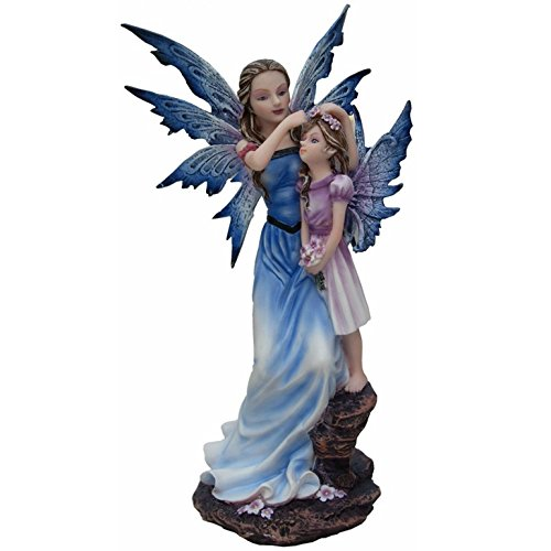 Statuette FEE ET SA Petite Fille sur Rocher (HT 23 cm) - Figurine FEE
