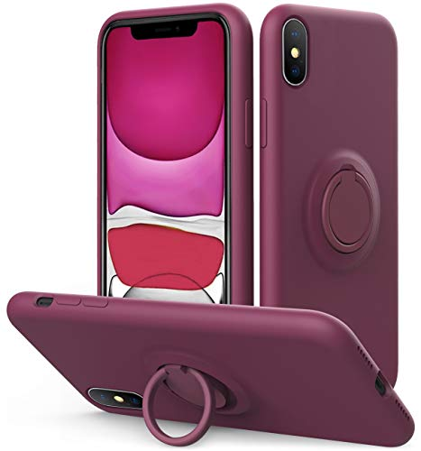 Vooii iPhone Xs/X Case Kickstand   Baby Grade Liquid Silicone   10ft Drop Tested Protective, Microfiber Lining Shockproof Full-Body Cover Case for iPhone Xs/X (WineRed)