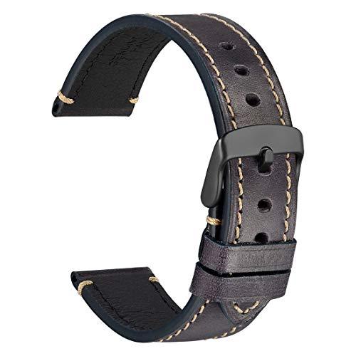 WOCCI 22mm Saddle Style Vintage Correa de Reloj de Cuero con Hebilla Negra, Bandas de Repuesto (Violeta de Carbono)
