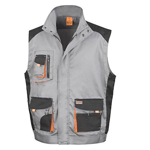 Result - Chaleco de trabajo Modelo Work-Guard Lite (transpirable y cortavientos) (Mediana (M)/Gris/Negro/Naranja)