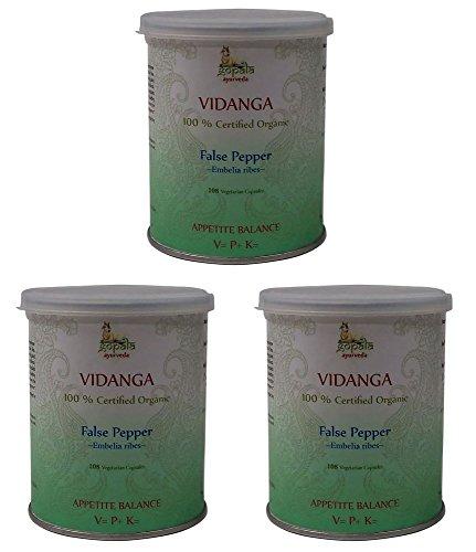 Vidanga Bio (108 Veg Kapseln - 3er pack) - 500mg je Kapsel - 100% Bio-zertifiziertes pflanzliches Nahrungsergänzungsmittel der Lacon GmbH