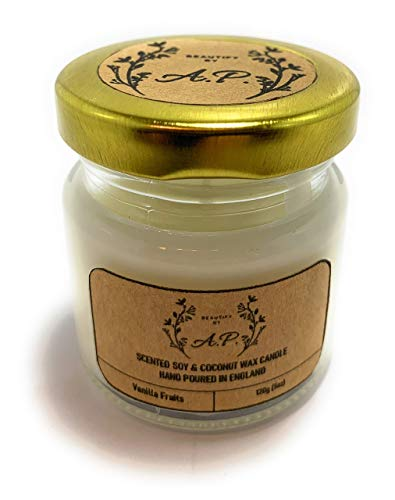 Scented Candle   Vanilla Fruits Small Jar Candle   Up to 15 Hours Burn Time,White