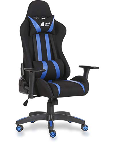 Green Soul Beast Series Fabric and PU Leather Gaming/Ergonomic Chair in GS-600 (Black and Blue, Medium)