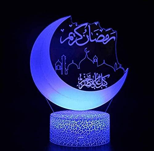 GDEVNSL Luces de Ramadán de acrílico 3D de Alto Rendimiento, Luces de Noche Decorativas de Ramadán de Eid Mubarak musulmán islámico LED de cabecera de Dormitorio, decoración de Mesa de Vacaciones