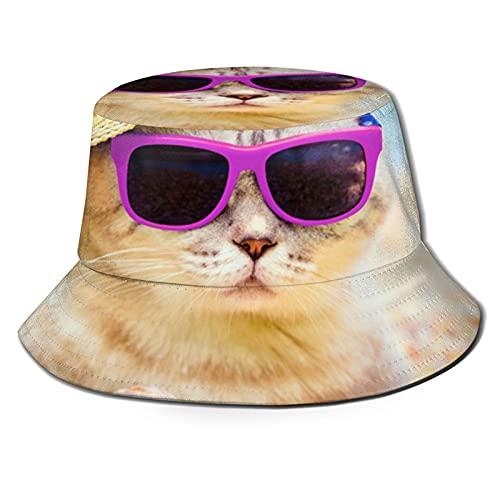 Sombrero de pescador 3D Gatos Gafas de sol en la playa plegable sombrero de verano sombrero de sol para hombres y mujeres negro