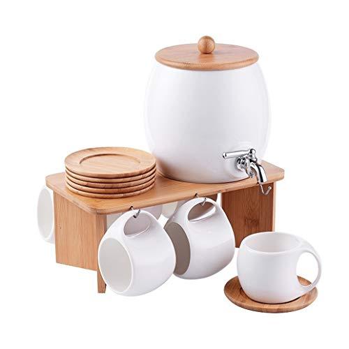 Keramik-Wasser-Schalen-Haushalt Cup mit kaltem Wasser Flasche Kaltes Getränk Saft Pot Kräutertee Kaltwasserflasche mit Hahn (Color : 6 Cup)
