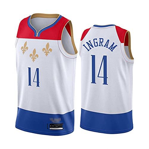 CYYX NBA Jersey, New Orleans Pelicans # 14 Brandon Ingram Retro Men's Basketball Jersey, Ropa Deportiva, Camiseta sin Mangas Unisex,Blanco,L