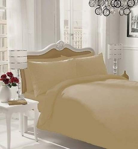 WOT NON IRON Parcale Plain Dyed Duvet Cover & 2 Pillow Cases Bed Set (Natural, Double)