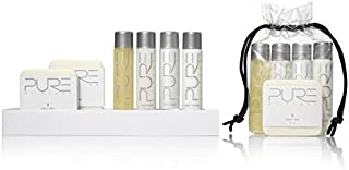 Pure by Gloss Gift Set – 5 Piece Luxury Collection w/Shampoo [1oz], Conditioner [1oz], Body Wash [1oz], Body Lotion [1oz], Body Bar [1oz] – Fresh Lemon Scent