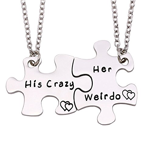 ENSIANTH Couple Necklace His Crazy Her Weirdo Necklace Puzzle Piece Necklace Set Gift for Lover (her Weirdo his Crazy Necklace)