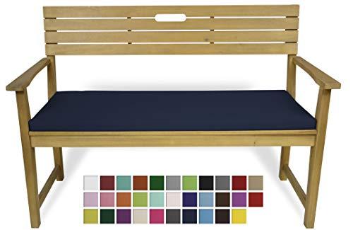 Rollmayer Bankkissen Bankauflage Sitzkissen Bankpolster Auflage für Bänke in Haus und Garten Kollektion Vivid, 1 Stück (Dunkel Blau 16, 120x40x4cm)