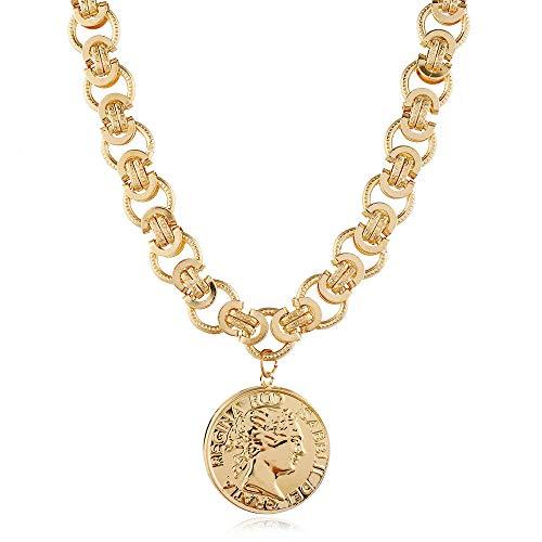 LKHJ Collar Retro Head Coin Último Personalizar Cadena de Moda Colgante Grande Estilo Caliente transfronterizo