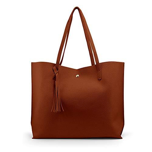 OCT17 Women Tote Bag - Tassels Faux Leather Shoulder Handbags, Fashion Ladies Purses Satchel Messenger Bags (Brown)